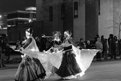 Belly Dancing for Christmas Parades? (LostOne1000) Tags: lights cedarrapids fireandice night city cold blackwhite iowa parade bellydancing unitedstates downtown us holidaydelightparade