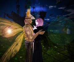 Dancing at Neverland (Niki Wirefly) Tags: fae fairy male fairey fantasy landscape dark halloween gay colour couple secondlife men people lufian wings niki love sl