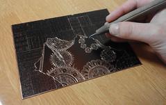 銅版画 (sjoerdgroneschild) Tags: art 芸術 etching 銅版画 detail 精密 characters 文字 gear 歯車 gold 金 brown 茶色