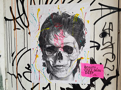 Beauty is only skin deep (Exile on Ontario St) Tags: staybeautiful sainthenri poster montreal stay beautiful print beauty only skin deep streetart street art posterart saint henri montral sthenri skull crne tte mort death dead ttedemort cranium hair cheveux woman women human color colorful colour colours colourful colors peinture paint wall notredame graffiti coulisses notre dame drips drip dripping mur affiche apparence appearance physical physique beaut standards peau pretty inside