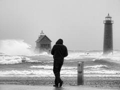 Facing the gales of November (John Rothwell) Tags: grandhaven michigan lakemichigan lake great waves november gale storm winter lighthouse pier water