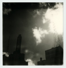 Broadway Sky (tobysx70) Tags: the impossible project tip polaroid slr680 frankenroid sx70 door rollers bw blackandwhite film for 600 type cameras instant impossaroid broadway sky dtla downtown los angeles la california ca roxie theatre cinema movie theater krkd antenna aerial clouds mint lens set yellow filter ciclavia polawalk 101616 toby hancock photography