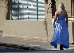 Going Out Purple (mikecogh) Tags: glenelg woman purple dress alone blonde
