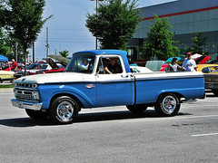 66 F100 RANGER blue and white (EXPLORE) (Two Sprints) Tags: explore ford carshow ant vintage hotrod