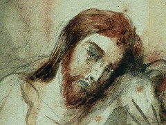 DELACROIX Eugène,1826 - Le Christ au Jardin des Oliviers, Eglise St-Paul-St-Louis, Paris, Etude (drawing, dessin, disegno-Louvre RF23325) - Detail 45 (L'art au présent) Tags: drawing dessins dessin disegno personnage figure figures people personnes art painter peintre details détail détails detalles 19th 19e dessins19e 19thcenturydrawing 19thcentury detailsofdrawing detailsofdrawingdessins croquis étude study sketch sketches tableaux louvre museum eugènedelacroix eugène delacroix france lechristaujardindesoliviers christinthegardenofgethsemane gardenofgethsemane christ jardindesoliviers aquarelle watercour watercolor man men homme romantic romantique romantisme romanticism romance armes weapons soldats soldiers rocher rock nuit night ombre shaddow paris
