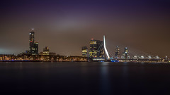 Night/cityscape of Rotterdam and Erasmus bridge in South Holland, The nederland. (Bart Ros) Tags: rotterdam southholland holland zuidholland dutch nederland travel urbanexploration city longexposure night panorama hdr cityscape nightscape water river waterfront tripod pentax