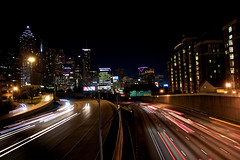 Alive in the night (mikedunnit) Tags: city atlanta urban cars skyline night georgia highway downtown driving cityscape view traffic midtown interstate