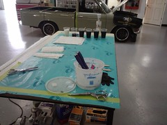 Before starting a fiberglass project, we lay out our station to be quick, organized and avoid mistakes.
