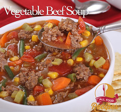 Vegetable Beef Soup (Thinkarete) Tags: red food closeup dinner lunch soup healthy beef nobody spoon bowl vegetable meat homemade hamburger meal nutrition nutritious