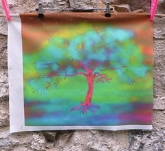 LUMINESCENT TREE FAIRY LIGHT PILLOW PANEL (paysmage) Tags: tree art colors illustration night digital print artwork colorful artist panel drawing sewing pillow collection fairy fabric cotton fantasy midnight cushion printed homedeco multicolor fabrics upholstery colorways stiching spoonflower