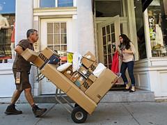 BostonAmazonandOthers (fotosqrrl) Tags: urban boston massachusetts streetphotography ups delivery boxes northend princestreet handtruck