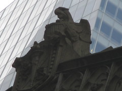Bird Eagle Gargoyle Statues 0855 (Brechtbug) Tags: bird eagle gargoyle statues near bryant park 7th avenue 40th new york public city 11112014 birds sculpture rooftop building 2014 nyc stone art architecture above