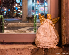 """""""Guardian Angel"""" (D A Baker) Tags: christmas xmas tree decoration top topper angel wings downtown fort wayne ft indiana allen county jimmy johns south calhoun streets street parking garage stairwell bitter cold blustery winter storm frigid lethal guarding guardian watching over protector protection fortwayne danielbaker daniel baker dan da danielabaker"""