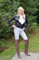 Jeans and boots. (sabine57) Tags: drag tv highheels boots cd crossdressing tgirl transgender jeans tranny transvestite crossdresser crossdress leatherjacket travestie transvestism overkneeboots