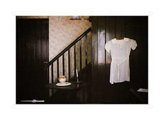"""""""Now our hearts are locked up tight again."""" (Oliver Liria) Tags: house film stairs 35mm 50mm casa candle blouse pelicula analogue escaleras camisa"""