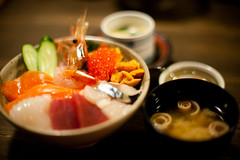 Kaisen don  (the Snow Tiger) Tags: food fish japan sushi japanese 50mm nikon hokkaido raw yum rice sashimi  seafood  d3 f12  chirashi  kaisen