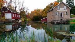 Mill Pond Reflections (_Matt_T_) Tags: autumn decewfalls k5iis morningstarmill pentax red smcpda15mmf40edal stcatharines thorold yellow colonialindustry gristmill pioneer sawmill justpentax wideangle