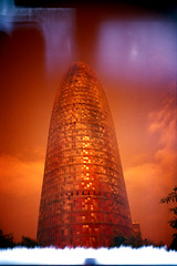 Torre Agbar (pho-Tony) Tags: barcelona camera light orange tower film glass fog architecture rollei 35mm point diy spain shoot barca torre jean iso400 failure bcn wide panoramic ishootfilm diagonal lightleak homemade cast automatic flare vista agbartower prego r1 lipstick 24mm agfa avenue leak phallic gherkin glitch ricoh torreagbar catalan compact nouvel agbar micron poblenou plaça poundland agfavista 30mm jeannouvel glories c41 suppository glòries fogging catalanes ricohr1 filmisnotdead redscale tetenal redscaled rolleipregomicron plaçadelesglòriescatalanes agfavistaiso400 elsupositori
