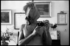 (Birthday of a Horseman Turned Into a Horse) (Robbie McIntosh) Tags: leica blackandwhite bw horse selfportrait film monochrome analog 35mm mirror mask kodak trix streetphotography hc110 rangefinder bn summicron negative 400 analogue m2 biancoenero argentique leicam2 horseman dyi selfdeveloped pellicola kodaktrix400 analogico leicam filmisnotdead kodakhc110 hc110dilb autaut leicasummicron35mmf20iv leicasummicron35mmf2iv summicron35mmf20iv