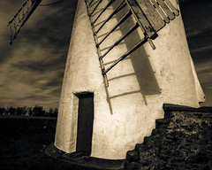 Ballycopeland windmill door and sails close up bw sepia (bruce.marshall2@btinternet.com) Tags: ireland sepia architecture sail northern ballycopelandwindmillsailsbw