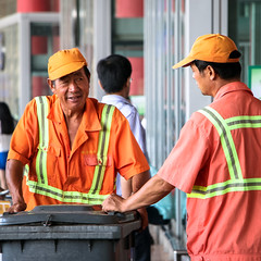 Cleaning workers in Beijing International Airport, China (inchiki tour) Tags: travel people photo airport beijing staff worker