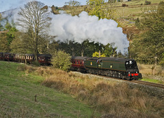 34092 Approaches Oxenhope 12-10-14 (prof@worthvalley) Tags: railroad all transport railway wells steam valley locomotive worth types keighley kwvr 34092