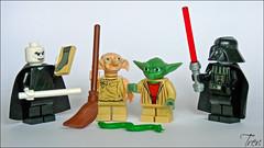 Dobbie & Yoda in Clash of the Classics (Trev Grant) Tags: starwars yoda lego harrypotter humour darthvader minifigure dobbie 2011 minifigures nagini goldenoldie lordvoldemort