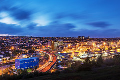 lights of downtown St. John's, Newfoundland (tuanland) Tags: city longexposure sunset canada fall skyline night port newfoundland landscape evening twilight nikon downtown cityscape harbour dusk wide stjohns bluehour nfld nightfall atlanticcanada d600 couldy newfoundlandandlabrador downtownstjohns nikond600