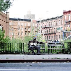 (pexy) Tags: sleeping bench harlem streetphotography hasselblad500cm fujipro160s