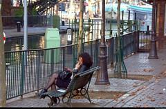 Parisienne (Olivier Simard Photographie) Tags: morning bridge woman black paris sexy water stockings girl seine river canal eau noir îledefrance dress legs boots lock robe cigarette femme tunnel rivière riverboat pont sensuality péniche république fille bastille barge sophisticated channel jambes bottes regard elegance candidshot désir canalsaintmartin matinée parisienne élégance eroticism écluse bassindelavillette placedelarépublique bancpublic ruedufaubourgdutemple érotisme séduction sensualité scènederue féminité seamedstockings bascouture 10°arrondissement oliviersimardphotographie