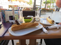 German sausages (Jean Bloor) Tags: lunch restaurant german sausages roll cala majorca millor