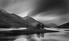 500 Seconds at Loch Leven (Andrew Paul Watson) Tags: loch leven glencoe scotland blackandwhite long exposure fujifilm 16stop firecrest tripod lee filter stop black white reflection tree clouds movement