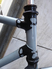 Lugs (cyclingshepherd) Tags: 2016 italy italia italie milan milano liguria bike frame headtube lug lugs cyclingshepherd toptube downtube headset bicycle bicicleta fahrrad rad velo vlo parked abandoned wrecked cycle cycling october lugwork