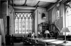 The Library . (wayman2011) Tags: fujifilmx70 lightroom wayman2011 bw mono architecture windows cathedrals library northyorkshire yorkshire ripon uk