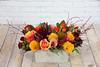 IMG_4905-2 (Garden Party Flowers) Tags: autumnarrangement autumnthemearrangement callalily dahlia florist flowers longandlowarrangement modern rose rosehips vancouver vancouverflorist