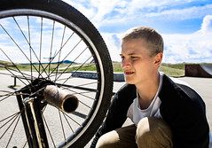 Mikkel Dan (SBJRN) Tags: asbjrnandersen mikkeldan danmark denmark danish detailed depthoffield dark dof dirt dansk canon6d canonef2470mmf28l portrait portraiture portrt person bike bicycle rim tire face bluesky ramp reflector wwwasbjornfotocom