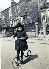 SCOOTER GIRL (JOHN MORGANs OLD PHOTOS.) Tags: vintage found photo bw black british and album white england the young uk unusual unitedkingdom unknown unique interesting old on photos photographer people seaside different family fun hat hats johnmorgan kissing looking location ladies child vintagephoto name no new national man lyons tea scooter