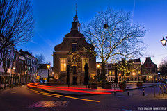 City Hall, Schiedam (In Explore) (Charlene van Koesveld) Tags: schiedam cityhall townhall stadhuis city cityscape town street night bluehour blue longexposure lights architecture holland dutch netherlands nederland early morning sky building