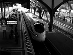 ICE 1557 pulling out of Darmstadt Hbf (mkk707) Tags: fujifilm fujifilmfinepixf31fd finepix blackwhite pointshoot superccd train darmstadt