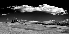 White... (Howard Brown Photographic) Tags: cloudsstormssunsetssunrises clouds valley farm black white panno panorama pano italy italia italian farmland val dorcia san quirico river sun sunlight high contrast