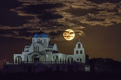 Nov. 14, 2016 Supermoon (2) (n.pantazis) Tags: supermoon2016 supermoon moon fullmoon church night sky clouds lights attica attiki greece pentaxks2 tamron