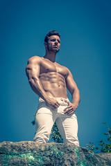 Shooting Jordan (aot 2016) (Vision Factory) Tags: boy hot jordan male man outdoor shirtless shooting muscle sun