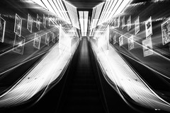 In Gotham City III - On shaky Ground (*Capture the Moment*) Tags: 2016 escalator fotowalk lichter lights marienplatz munich mnchen rolltreppen sonya7m2 sonya7mii sonya7ii sonyfe1635mmf4zaoss sonyilce7m2 subway ubahn monochrome schwarzweiss