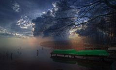 Autumnal. (augustynbatko) Tags: autumn lake water boat pier nature landscape view sky clouds