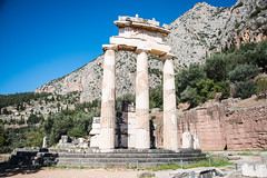 Delphi - Tholos of Temple of Athena Pronaea Rebuilt Columns 3 (Le Monde1) Tags: greece delphi greek sanctuary athena lemonde1 nikon d800e unesco worldheritagesite archaeological site roman ruins gods tholos templeofathena pronaea fluted columns