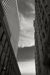 Buildings and Sky (frntprchprss) Tags: buildings clouds sky alley philadelphia urban city windows skyscraper jamesgehrt blackandwhite