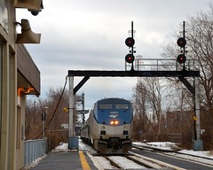 AMTK 6 (Michael Berry Railfan) Tags: stlambert sthyacinthesub quebec train winter snow ge generalelectric amtrak amtk68 amtk amtk694 adirondack amfleet amtk6