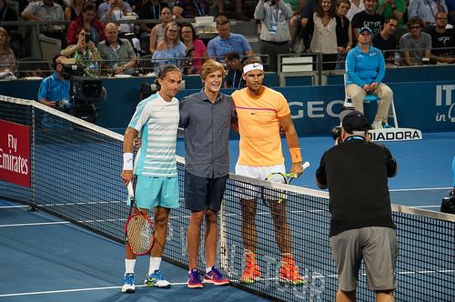 Rafael Nadal and Alexandr Dolgopolov Pre-Match Photo