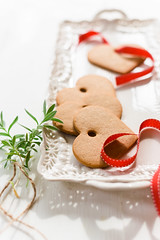 Ginger Ornaments Cookies (Au Petit Gout) Tags: christmas light red food tree cookies photography ginger holidays natural crochet dotted ornaments ribbon tradition styling elizabethgaubekaphotographybyaupetitgout