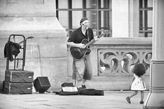 sing along (lynn.h.armstrong) Tags: summer people bw musician white ontario canada man black building art girl monochrome photography photo aperture nikon long flickr photographer child dress singing guitar song wordpress south ottawa cement gear wb blogger images lynn livejournal sidewalk h singer speaker getty microphone busker armstrong stormont facebook sault ingleside twitter 500px tumblr d7000 lynnharmstrong pinterest